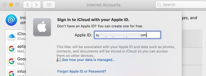 macOS Catalina Internet accounts iCloud signin