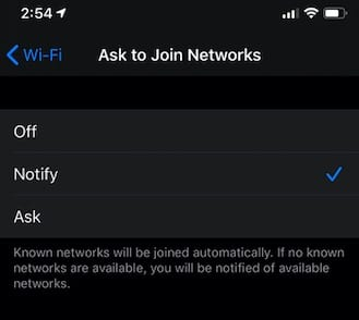 iOS 13 Wi-Fo Ask to Join feature