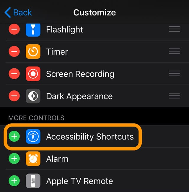 Accessibility Shortcut iOS
