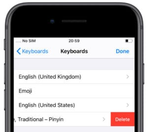 iOS Keyboard settings with button to delete keyboard on iPhone 8
