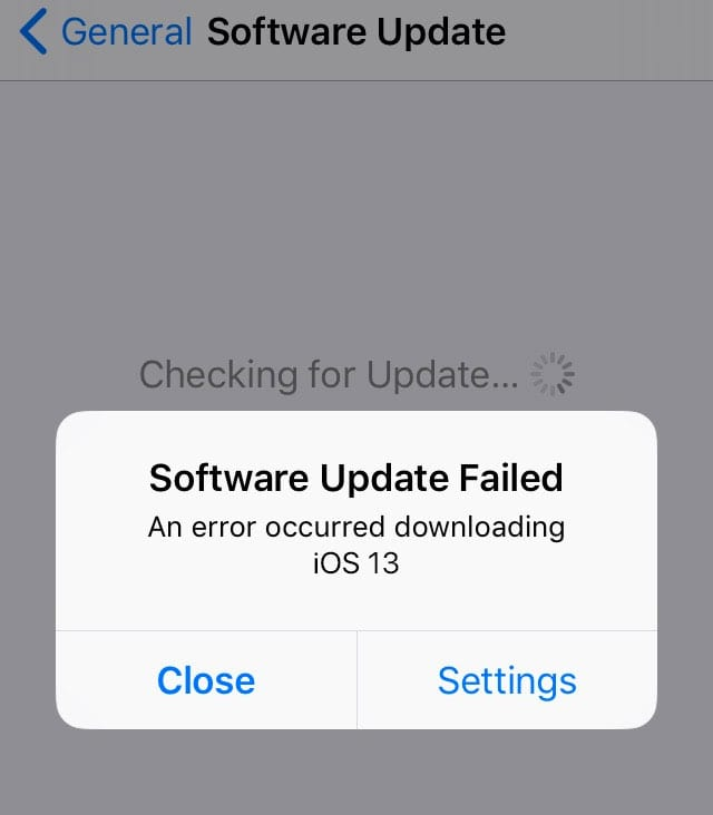 software update failed for iOS 13 and IPadOS