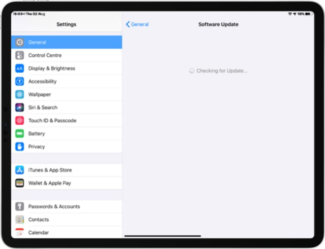 iPad Pro checking for software updates in Settings