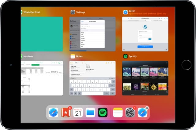 iPad mini App Switcher in iPadOS