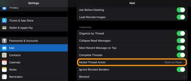 mute thread action in ipadOS and iOS 13