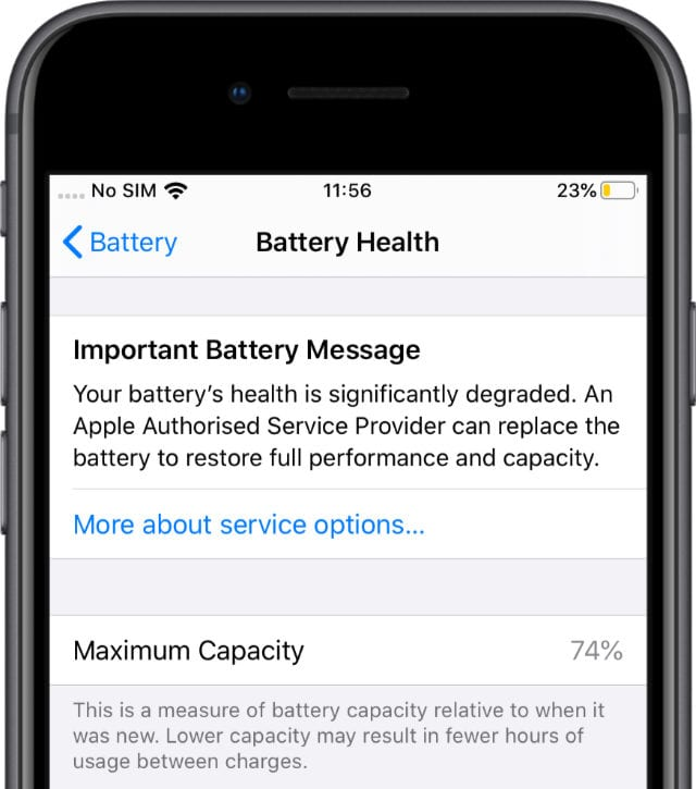 iPhone 6S showing an Important Battery Message and Maximum Capacity