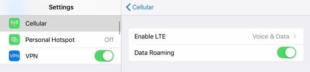 Data Roaming setting for iPhone and LTE