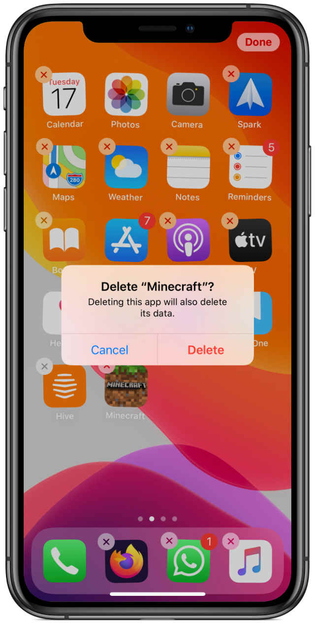 iPhone Delete App Confirmation Pop-Up