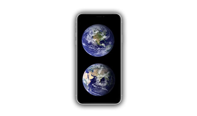 iPhone XR with globe wallpaper