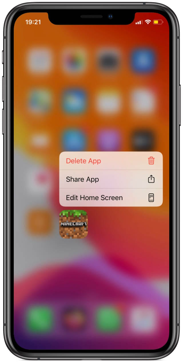 iPhone app quick action menu