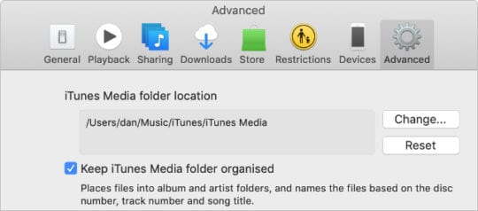 iTunes Advanced preferences showing option to keep iTunes Media folder organized
