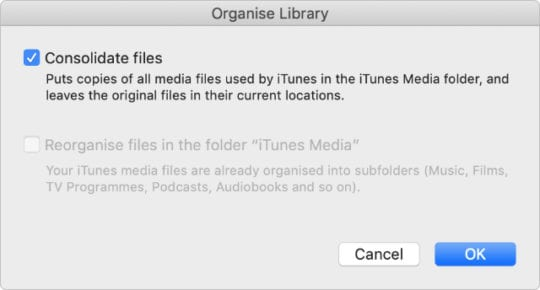 iTunes window to Consolidate files in the iTunes Media library