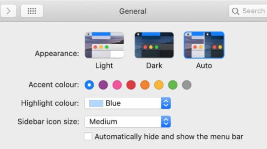 macOS Catalina Auto dark light mode System Preferences