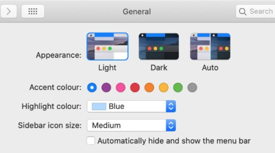 macOS Catalina Light mode System Preferences
