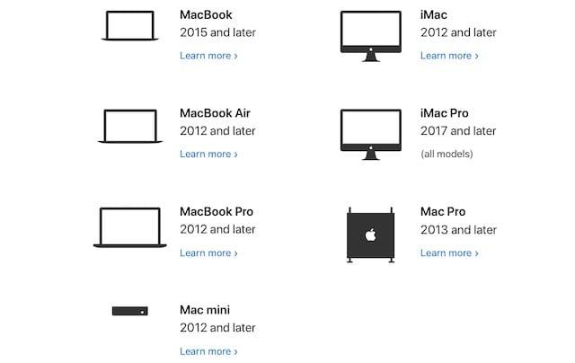 macOS Catalina compatible Macs
