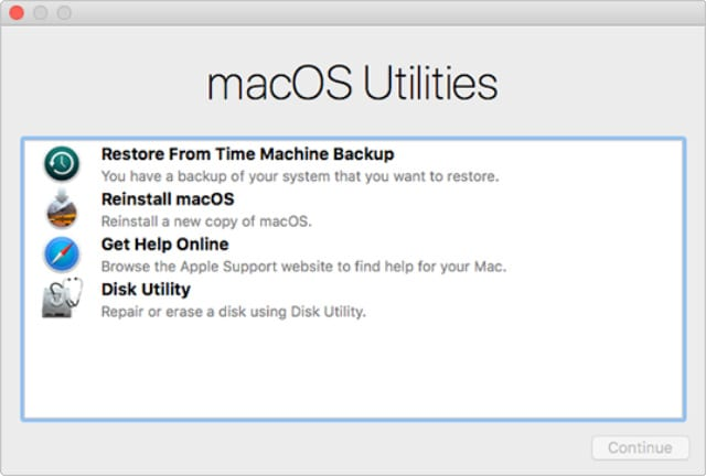 macOS Utilities window from Recovery Mode