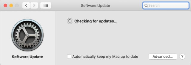 macOS checking for software updates in System Preferences