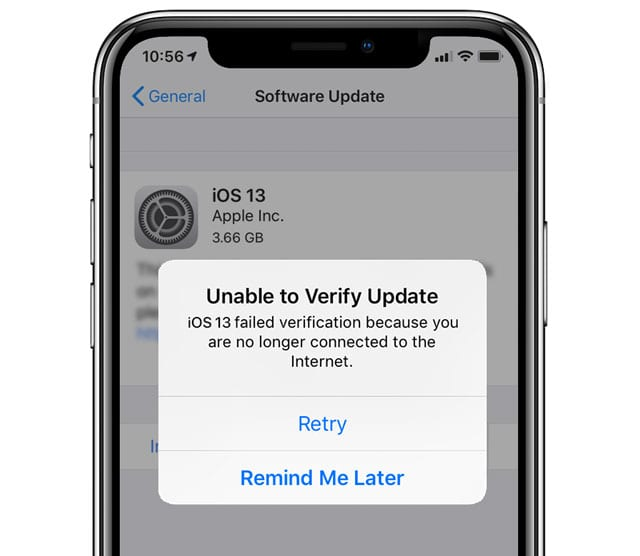 iOS 13 unable to verify update