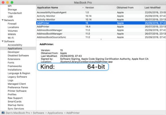 64-bit kind app information in System Report