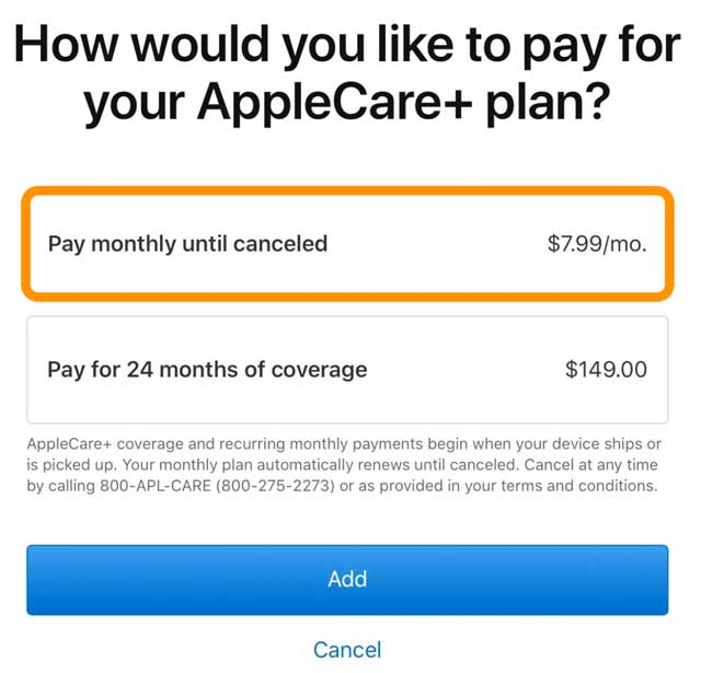 Apple's monthly Apple Care plan
