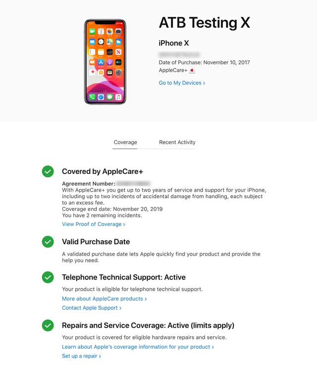 details of Apple Care warranty for iPhone X