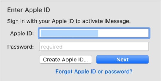Apple ID sign in page for Messages on a Mac