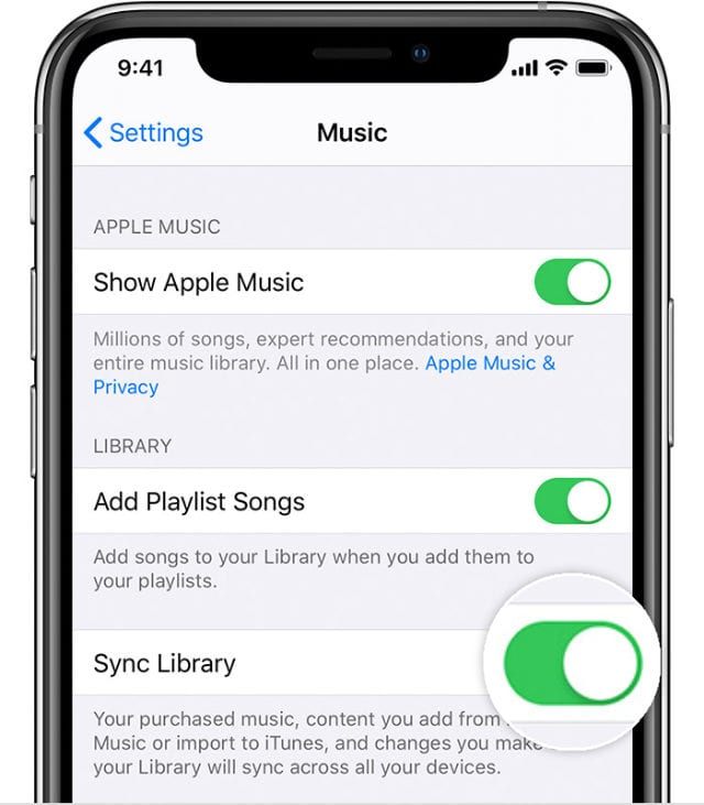 Apple Music Sync Library option in Settings