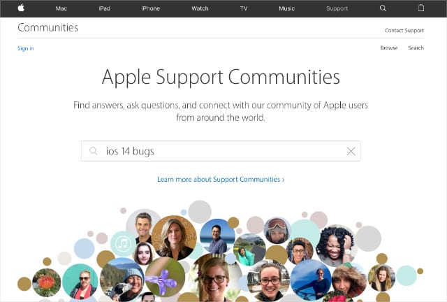 Apple Support Communities searching for iOS bugs