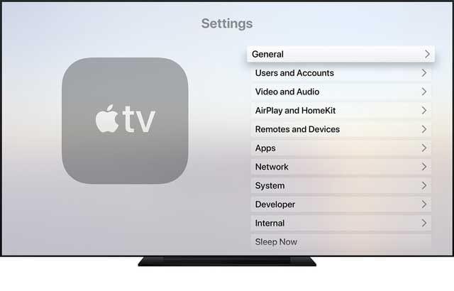 general settings on Apple TV