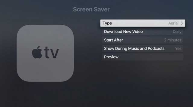 screensaver settings on Apple TV