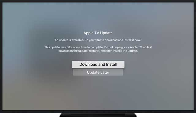 download and install Apple TV tvOS update