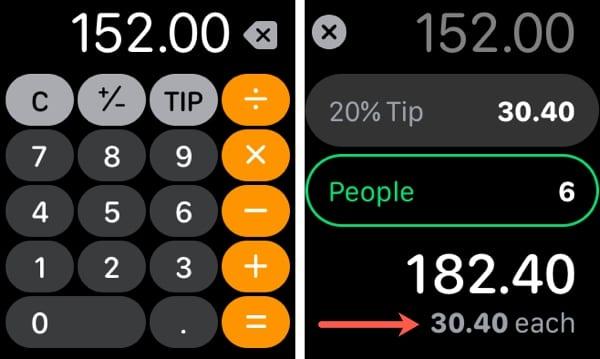 Apple Watch Calculator Split