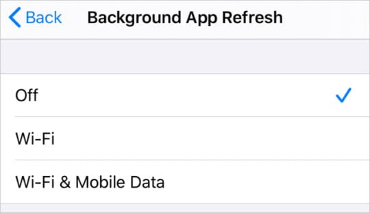 Background App Refresh options in General Settings on iPhone