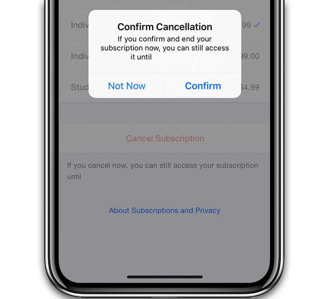 cancel a subscription on your iPhone