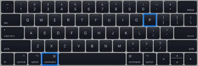 Command print shortcut on Mac keyboard