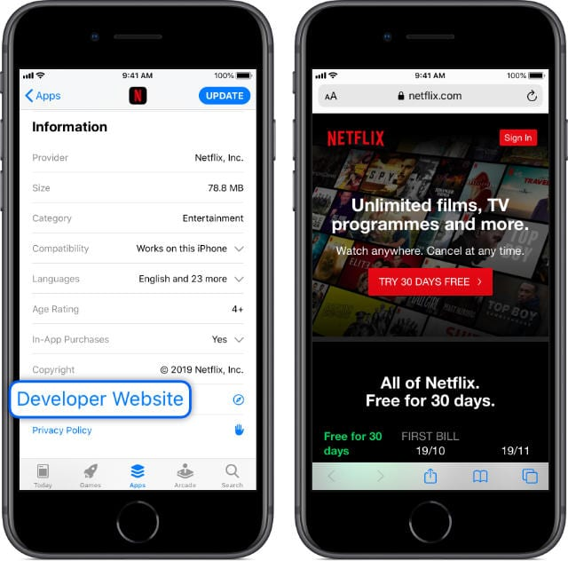 Developer Website button in App Store linking to Netflix website