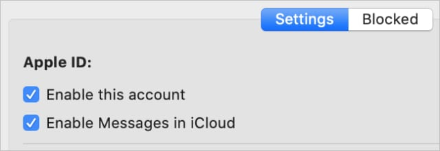 Enable this account checkbox in Messages Preferences on Mac