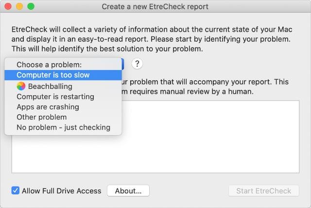 EtreCheck problems drop-down menu