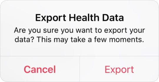 Export Health Data pop-up alert from iPhone