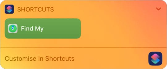 Find My Shortcut widget in iOS 13