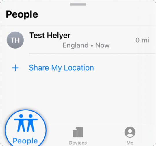 Find My options with People tab in iOS 13