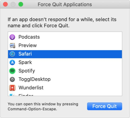 Force Quit menu to close apps that are not responding