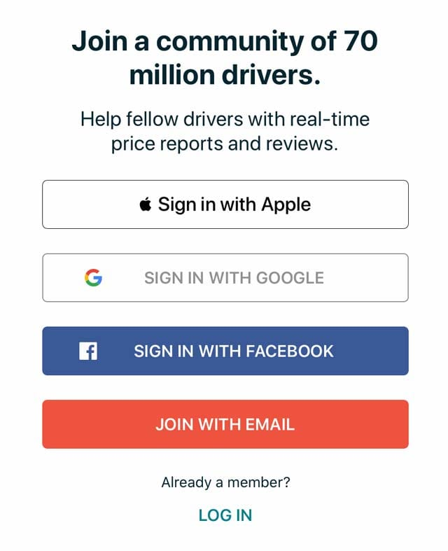 sign in with Apple for Gas Buddy App
