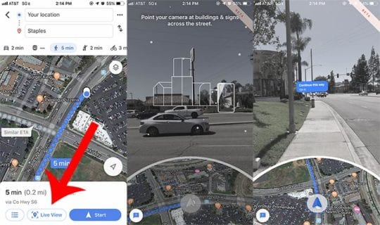 Google Maps A/R Feature on iPhone