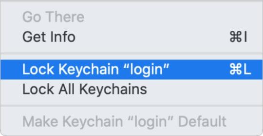 Lock Keychain login option from Keychain Access app