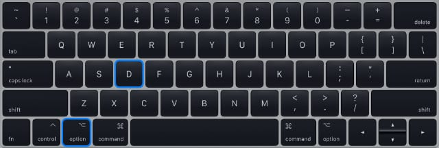MacBook Pro keyboard highlighting option+D to start Apple Diagnostics from the Internet