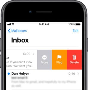 Mail on iPhone swiping to delete a message