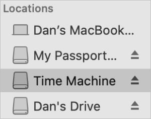 Mutliple external drives in Locations in Finder sidebar