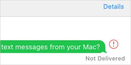 Not Delivered alert in Messages app on Mac