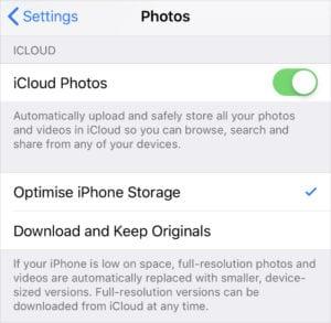 Optimise iPhone Storage option in Photos Settings