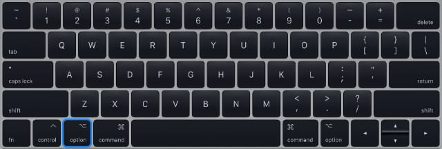 Option key on keyboard to boot into startup disk selection